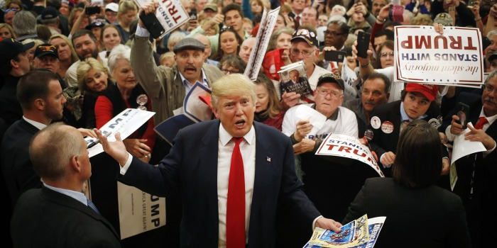 Donald Trump, president and chief executive of Trump Organization Inc. and 2016 Republican presidential candidate, greets attendees after speaking at a campaign event at the Myrtle Beach Sports Center in Myrtle Beach, South Carolina, U.S., on Friday, Feb. 19, 2016. The six remaining Republicans face off Saturday in South Carolinas primary where Trump holds a commanding lead in the polls. Photographer: Luke Sharrett/Bloomberg via Getty Images