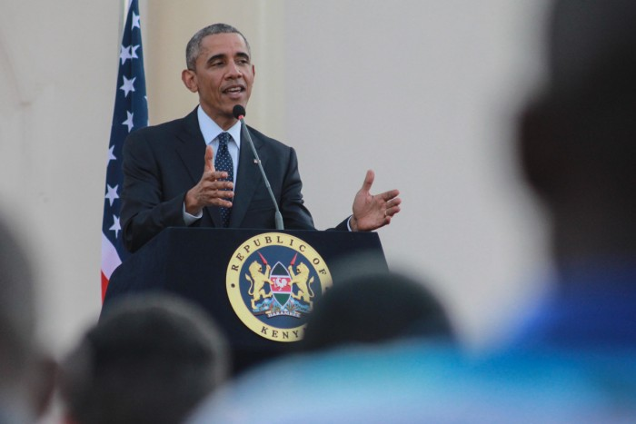 Keywords: stock, president obama,, kenya, africa, wildlife Kenya. 25th July, 2015. US President Barack Obama speaks during a joint news conference with his Kenyan counterpart Uhuru Kenyatta at the State House in Nairobi Kenyan Capital. Obama is on his three day visit to the country, his first visit to his father's homeland since becoming president. He promoted Africa as a hub for global economic growth during a four-day state visit to Kenya and Ethiopia to address terrorism, economic recovery and human rights. © Tom Maruko/Pacific Press/Alamy Live News