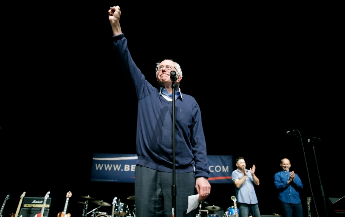 Democratic presidential candidate, Sen. Bernie Sanders, I-Vt., reacts to supporters during a concert hosted by his campaign, Friday, Oct. 23, 2015, in Davenport, Iowa. (AP Photo/Charlie Neibergall)
