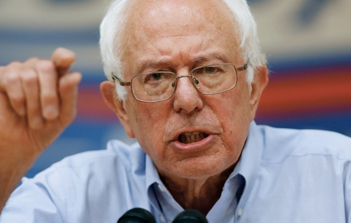 Democratic presidential candidate, Sen. Bernie Sanders, I-Vt., speaks during a town hall meeting at Nashua Community College in Nashua, N.H., Saturday, June 27, 2015. (AP Photo/Michael Dwyer)