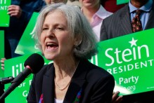 FILE - In this Oct. 24, 2011 file photo, Jill Stein of Lexington, Mass. speaks during a news conference outside the Statehouse in Boston. Stein, a medical doctor who once ran against Mitt Romney for governor of Massachusetts says she has enough delegates to win the Green Party's presidential nomination. The campaign of Jill Stein says she clinched the nomination after the California primary on Tuesday and now has won two-thirds of the delegates allocated.  (AP Photo/Elise Amendola)