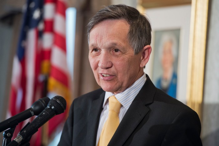UNITED STATES - APRIL 17: Former Rep. Dennis Kucinich, D-Ohio, speaks at an event at the Capitol Hill Club to launch the Ron Paul Institute for Peace and Prosperity. (Photo By Tom Williams/CQ Roll Call)