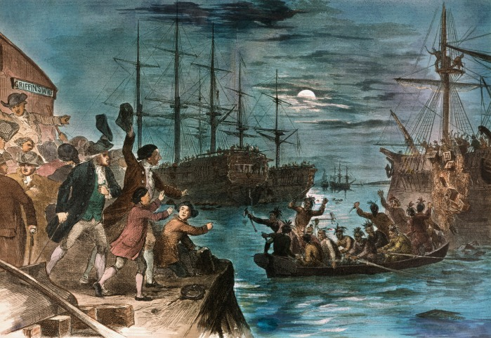 Boston Tea Party destroying tea in Boston Harbor December 16, 1773.
